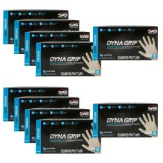DYNA GRIP: Powder Free, Exam Grade, Fully Textured LATEX 7 MIL Gloves 10 Box Kit (MEDIUM)