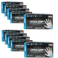 DYNA GRIP: Powder Free, Exam Grade, Fully Textured LATEX 7 MIL Gloves 10 Box Kit (XLARGE)