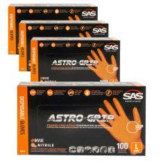 ASTRO-GRIP: Pwdr-Free, Embossed Grip Txt HI VIZ ORANGE Nitrile, NON LATEX 7 MIL Gloves 4 Box Kit (L)