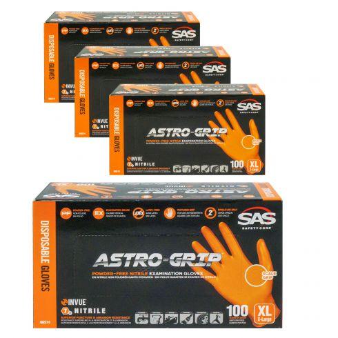 ASTRO-GRIP: Pwdr-Free, Embossed Grip Txt HI VIZ ORANGE Nitrile, NON LATEX 7 MIL Gloves 4 Box Kit XL