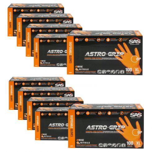 ASTRO-GRIP: Pwdr-Free, Embossed Grip Txt HI VIZ ORANGE Nitrile, NON LATEX 7 MIL Gloves 10 Box Kit XL