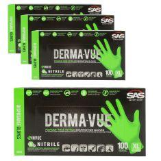 DERMA-VUE: Powder-Free, Fully Textured HI VIZ GREEN Nitrile, NON LATEX 6 MIL Gloves 4 Box Kit (XLRG)