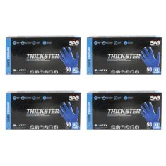 THICKSTER: Lightly Powdered, Exam Grade, BLUE LATEX 14 MIL Gloves 4 Box Kit (XL)
