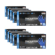 THICKSTER: Lightly Powdered, Exam Grade, BLUE LATEX 14 MIL Gloves 10 Box Kit (XL)