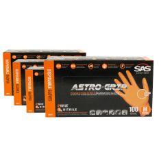 ASTRO-GRIP: Pwdr-Free, Embossed Grip Txt HI VIZ ORANGE Nitrile, NON LATEX 7 MIL Gloves 4 Box Kit (M)