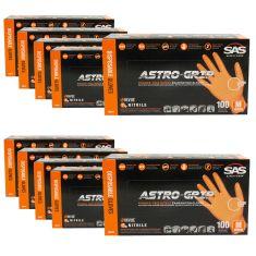 ASTRO-GRIP: Pwdr-Free, Embossed Grip Txt HI VIZ ORANGE Nitrile, NON LATEX 7 MIL Gloves 10 Box Kit (M