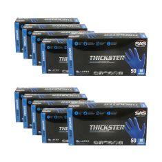 THICKSTER: Lightly Powdered, Exam Grade, BLUE LATEX 14 MIL Gloves 10 Box Kit (M)