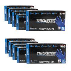 THICKSTER: Powder Free, Exam Grade, BLUE LATEX 14 MIL Gloves 10 Box Kit (XL)