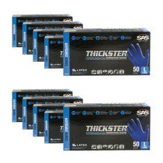 THICKSTER: Powder Free, Exam Grade, BLUE LATEX 14 MIL Gloves 10 Box Kit (L)
