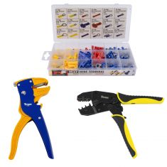 Wire Stripper & Crimper w/ terminal assortment