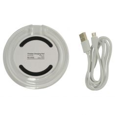 Chargeworx: Cell Phn (QI Compatible) WHITE Wireless Chrg Desktp Pad w/Micro USB Input & LED Chrg Ind