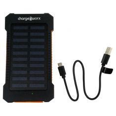 Chargeworx: SOLAR Powered Power Bank Portable Chrger w/Dual USB Ports for Mobile Devices (10000 Mah)